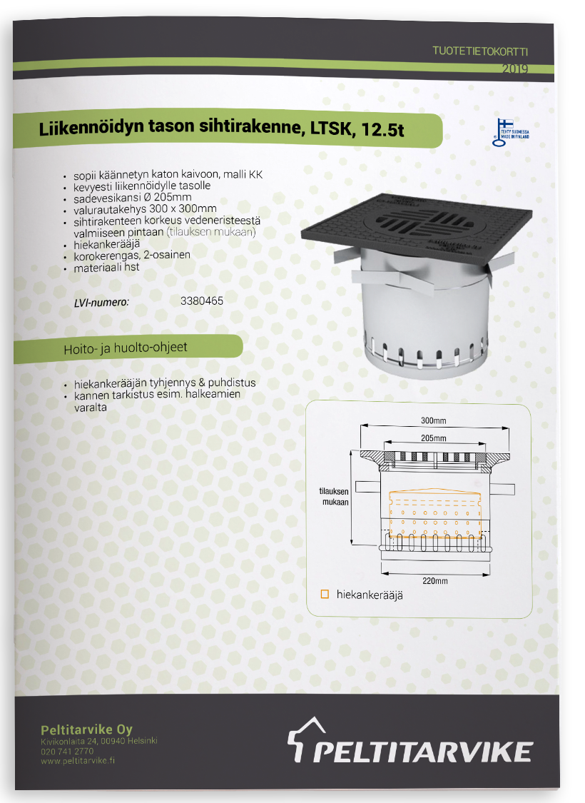 Peltitarvike LTSK sihtirakenne - tuotetiedot