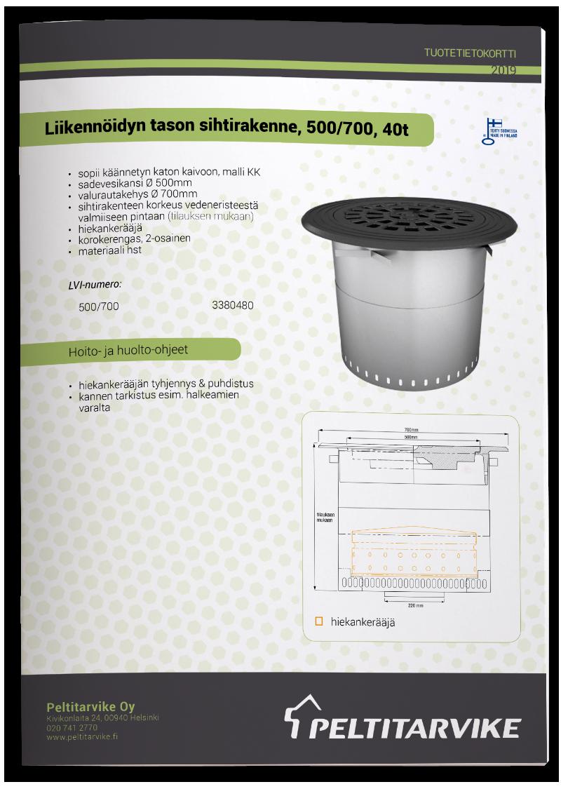 Peltitarvike-LTSK 500/700 - sihti - tuotetiedot