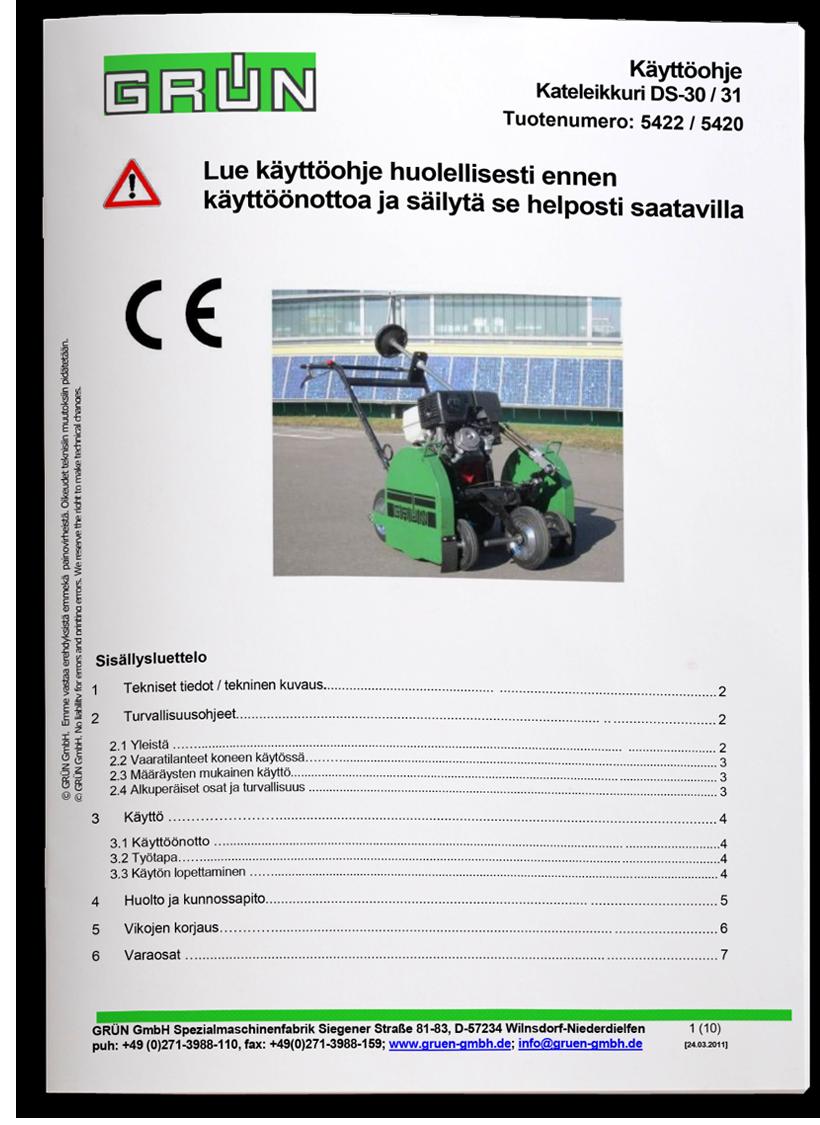 Peltitarvike käyttöohje kateleikkuri DS30-31