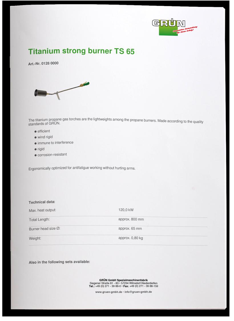 Peltitarvike titanium burner TS65 tuotetiedot